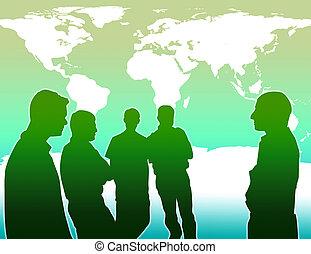 globaal, verhinderen, werken, het verwarmen, team