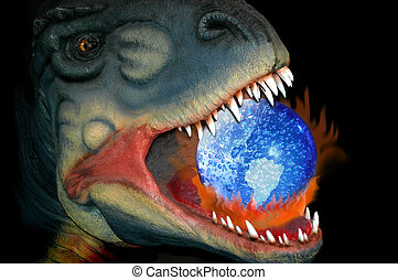 globaal verwarmend, en, de, weg, van, de, dinosaurus