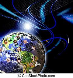 globaal, wereldwijd, netwerk, van, mensen
