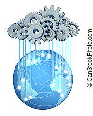 globaal, wolk, gegevensverwerking, netwerk