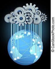 globaal, wolk, gegevensverwerking