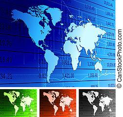 global økonomi, verden kort, baggrund.