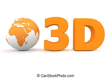Global 3D - Matt Orange - matt orange word 3D with a 3D...