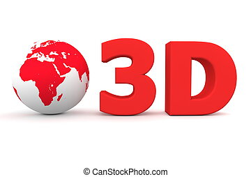 Global 3D -Matt Red - matt red word 3D with a 3D globe -...
