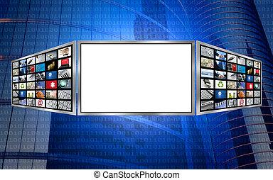 global, 3d, pantalla, espacio de copia, tecnología, concepto