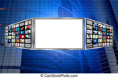 global, 3d, tela, espaço cópia, tech, conceito