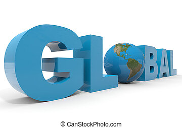 GLOBAL 3d text.  Earth globe replacing letter O.