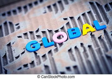 global, abstrakt, sönderrivet, bakgrund, papp, formulering