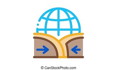 global action ground movement Icon Animation. color global action ground movement animated icon on white background