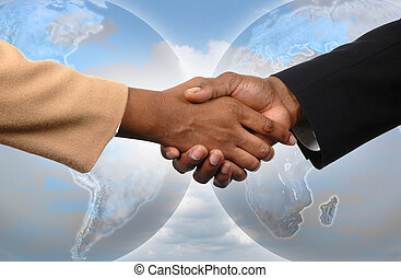 Global Agreement - Global agreement depicted by handshake...