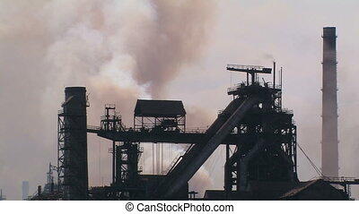 Global air pollution. Alchevsk metallurgical plant.