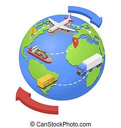 global, aire, camino, envío, icono, isométrico, estilo