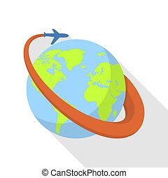 Global airplane icon, flat style