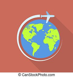 Global airway icon, flat style