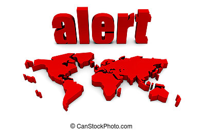 Global Alert With Red Text and International Map