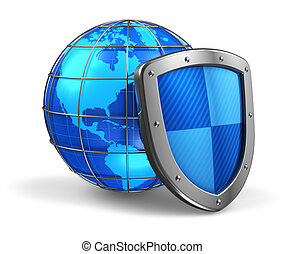 Global and internet security concept: blue glossy Earth ...