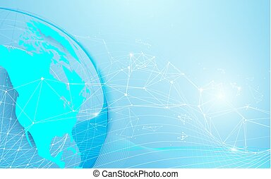 Global and World map with lines and triangles, point connecting network on blue background. Illustration vector