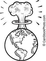 Global apocalypse sketch - Doodle style global apocalypse...