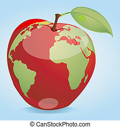 global apple - illustration of map on apple