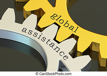 global assistance concept on the gearwheels, 3D rendering