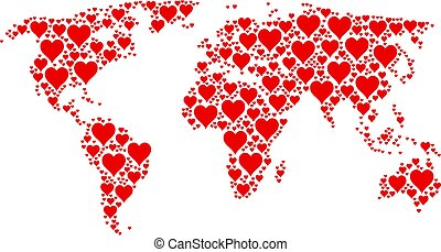 Global Atlas Collage of Hearts Suit Icons