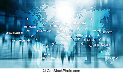 Global Aviation Abstract Background with planes and city names on a map. Business Travel Transportation concept