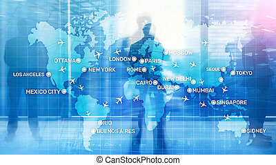 Global Aviation Abstract Background with planes and city names on a map. Business Travel Transportation concept.