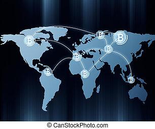 global, banque, filet, concept