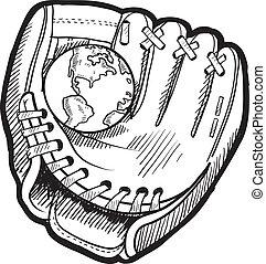Global baseball sketch - Doodle style baseball mitt with...
