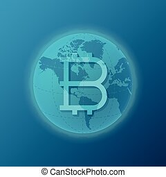 Global bitcoin cryptocurrency appearance concept with world...