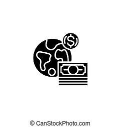 Global black icon concept. Global flat vector symbol, sign, illustration.