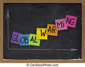 global, blackboard, begrepp, warming