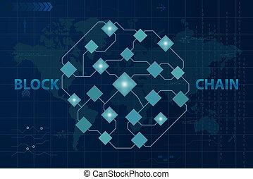 global, blockchain, crypto, monnaie, vecteur, technologie