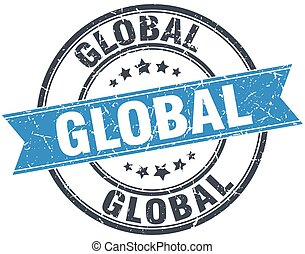 global blue round grunge vintage ribbon stamp