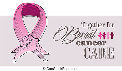 Global collaboration breast cancer awareness concept illustration. Human hands shake creating ribbon symbol. EPS10 vector file organized in layers for easy editing.