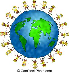 global brownie kids - world globe surrounded by brownies...