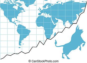 Global bull market chart stocks world growth graph