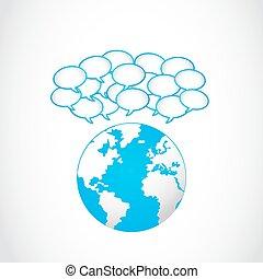 global, bulles, partage, parole
