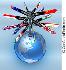 Global Business and Tourism - Planet earth with arrows ...