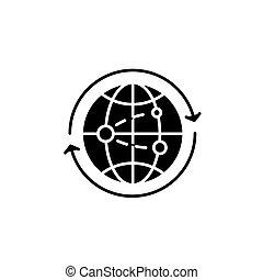 Global business black icon concept. Global business flat  vector symbol, sign, illustration.