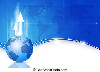 Global Business Blue Background