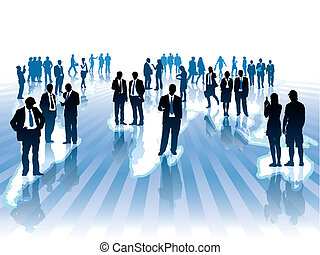 Global business - Businesspeople are standing and walking on...