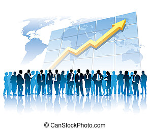 Businesspeople are standing in front of a large graph, world map in the background. The base map is from Central Intelligence Agency Web site.