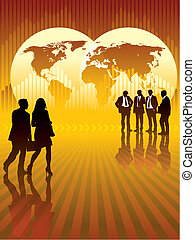 Businesspeople in front of world map and graph in the background, vector illustration.