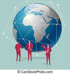 Global business concept design, businessman shaking hands on the globe. A businessman is holding a megaphone.