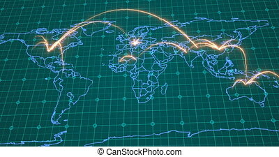Global business concept of connections and information ...