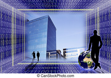 Global business concept. Office buildings in the center