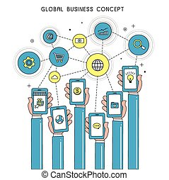 global business concept with devices