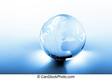 global business concept with glass planet and copyspace