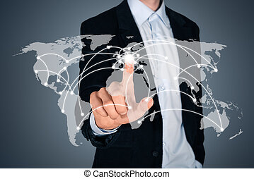 Global business connection concept - Portrait of pensive...